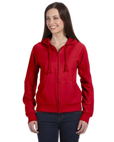 2010 Womens Raglan Hoodie - Bella Women's Full-Zip Raglan Hoodie B7007, 2X-Large, Red