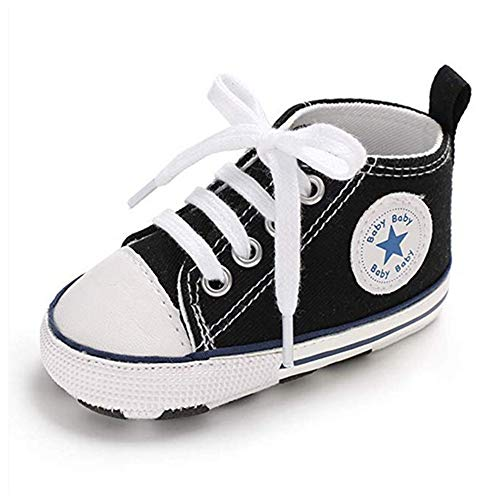 RVROVIC Baby Boys Girls Shoes Canvas Toddler Sneakers Anti-Slip Infant First Walkers 0-18 Months (6-12 Months M US Infant, A-Black)