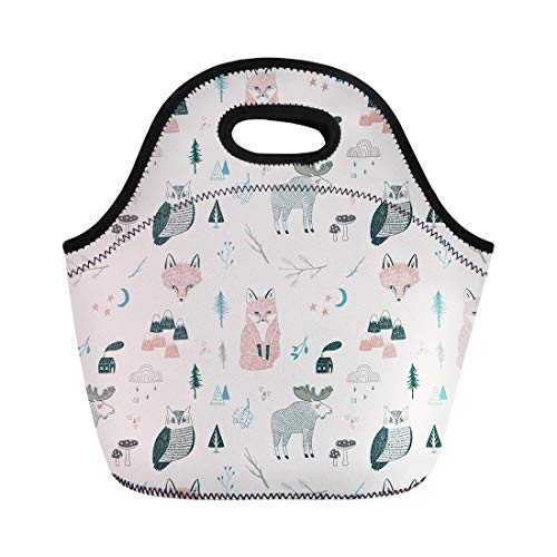 (Semtomn Neoprene Lunch Tote Bag Pattern of Woodland Animals Trees Mountains Cloud Rain Moose Reusable Cooler Bags Insulated Thermal Picnic Handbag for Travel,School,Outdoors,Work)