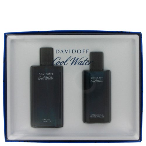 Cool Water Cologne By Davidoff, Gift Set - 4.2 Oz Eau De Toilette Spray + 2.5 Oz After Shave Splash, 100% Authentic