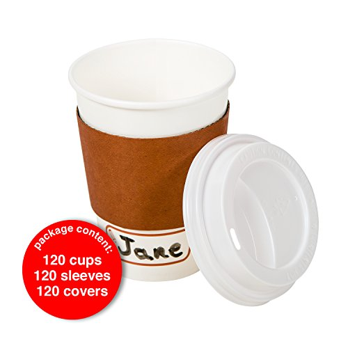 120 Disposable Paper Coffee Cups Set, 12 oz With Travel Lids and Sleeves, With Name Area for Personalization, Eco-Friendly, Cups for Hot/Cold Drinks, Coffee Tea Chocolate, To Go Coffee Cup. (Personalized Hot Chocolate)