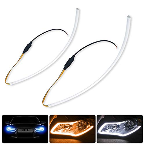 2 X 24 Inch DRL LED Light Strip, YANF Flexible Daytime Running Lights Dual Color White & Amber Sequence LED Strip Tube Switchback Headlight Decorative Lamp & Flowing Turn Signal Light for Any 12V Cars