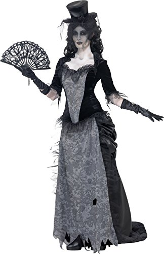 [Smiffy's Women's Ghost Town Black Widow Costume, Top, Skirt and Hat, Ghost Town, Halloween, Size 10-12,] (Ghost Baby Halloween Costume)
