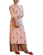 ladyline Womens Formal Rayon Printed Kurta with Palazzo Pants Set IndianKurti Tunic