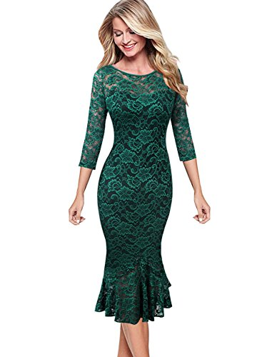 VFSHOW Womens Elegant Floral Lace Cocktail Party Mermaid Midi Mid-Calf Dress 1219 GRN L