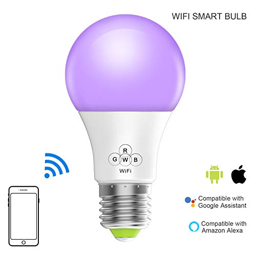 (Magic Hue Smart WiFi Light Bulb, No Hub Required, Multicolored Dimmable iOS Android App Alexa Google Voice Controlled Sunrise Household Smart Light Bulb)