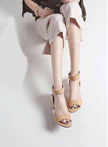 SYYAN Femmes Cuir Gland Fermeture éclair Open Toe Fait Main Pompe Robe Des Sandales , beige , 41