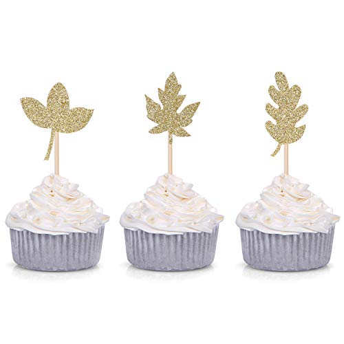 Pack of 24 Fall Leaves Cupcake Toppers for Thanksgiving/Autumn Party Decorations