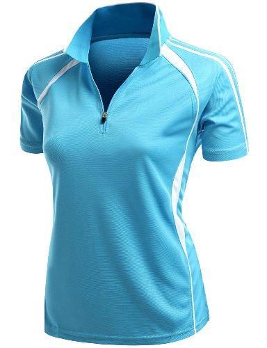 Polo T-shirt Collar (Coolmax 2 Tone Collar Zipup Polo T-Shirt Blue Size XXXL)