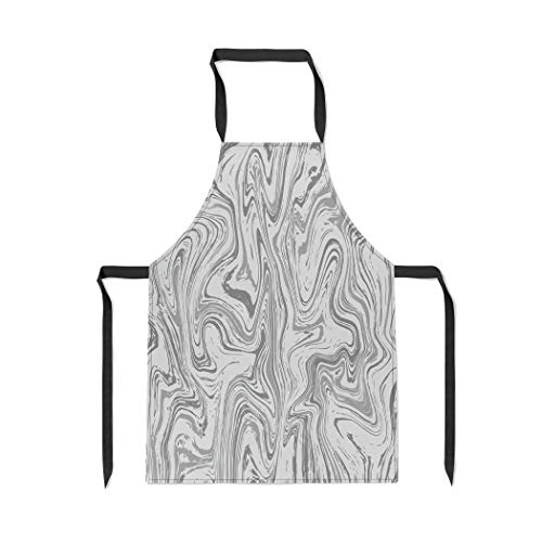 Pinbeam Apron Marble Pattern Wood Abstract in The Ebru Purple with Adjustable Neck for Cooking Baking Garden