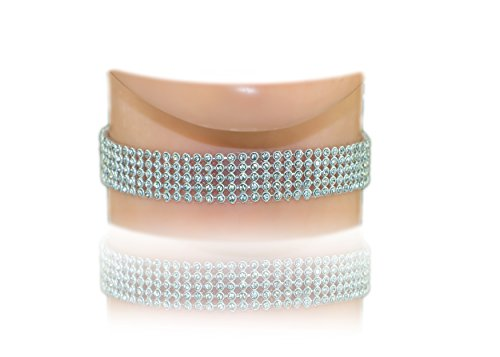 Jewels Fashion 5-Row Clear Austrian Rhinestone Crystal Choker Necklace Party Wedding Prom (Rhodium-Plated-Silver)