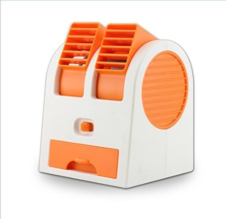 2016 New Double Layer USB Mini Air Conditioning Blade-less Fan Portable Mini-air Conditioner Outdoor office Runs On Batteries/USB (Orange) by Lucky Shop1234