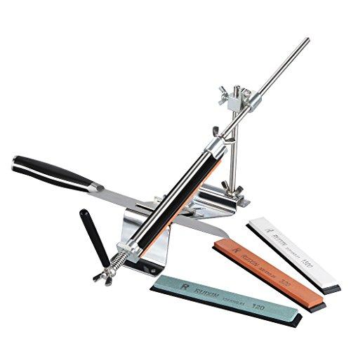 Ruixin Pro - Afilador de Cuchillos (Ángulo Fijo, Manual, con 4 Piedras de Afilar) Profesional Juego para Cocina