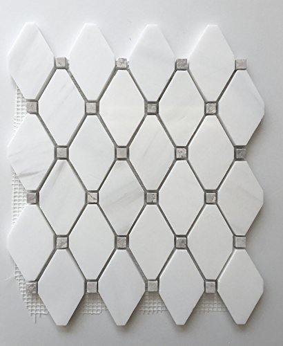 Dolomite White With Gray Marble Dots Rhomboid Mosaic Floor Wall ()
