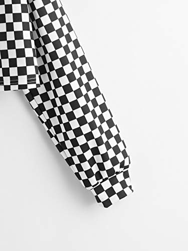 WDIRARA Women\'s Checkered Long Sleeve Drawstring Crop Hooded Sweatshirt Black and White S