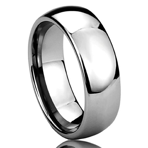 Personalized Inside Engraving Tungsten Carbide Wedding Band Ring 7mm Domed Classic Ring