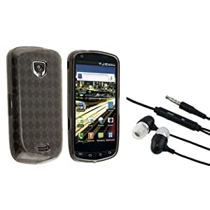 Smoke Argyle TPU Rubber Skin Case + Black In-ear (w/on-off) Stereo Headsets compatible with Samsung Droid Charge SCH-i510 / i520