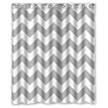 "High Quality Grey and White Chevron Pattern Bathing Waterproof Bathroom Fabric Shower Curtain 60"" x 72"""