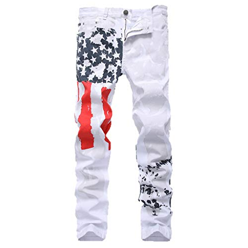 Seaintheson Men's White Casual Jeans Pants,4th of July American Flag Print Slim Fit Denim Pants Sport Workout Pants