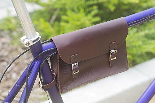 Fahrrad Rahmen Tasche Handarbeit Natur Leder cherry braun 21,8x 16,5x 5,1cm