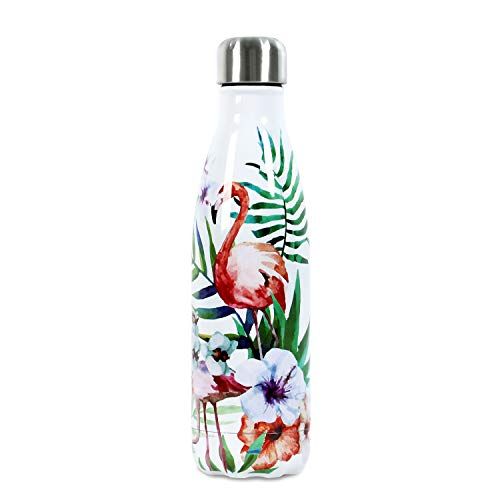 - 17 oz Double Wall Vacuum Insulated Stainless Steel Leak Proof Sports Water Bottle,Flamingo