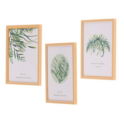 DYNWAVE 3pcs Resin Framed Picture of Fresh Plant, Simple Style Dollhouse Miniature Art 1:12 Scale Accessories ()