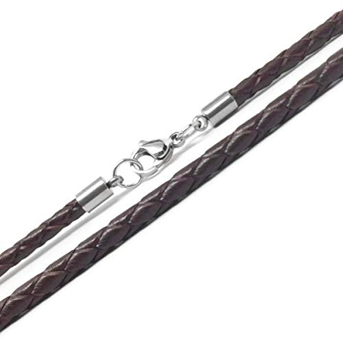 Multi Cord Leather Necklace - Loralyn Designs 3mm Men's Brown Braided Leather Necklace Cord with Stainless Steel Lobster Clasp (24 Inches)