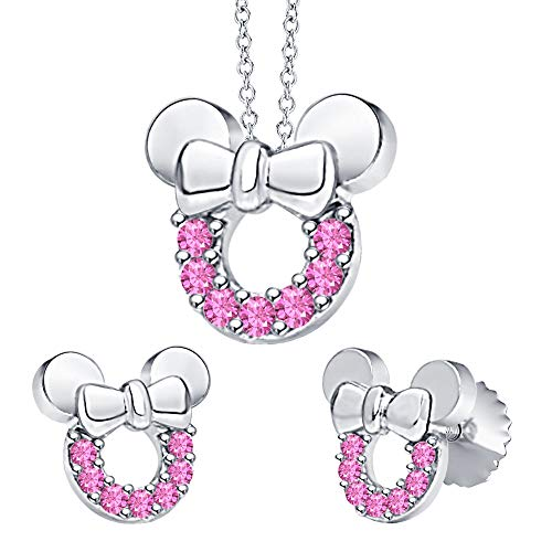 - tusakha Minnie Mouse Bow Pendant Necklace Earrings Set Pink Sapphire .925 Sterling Silver for Womes Girls
