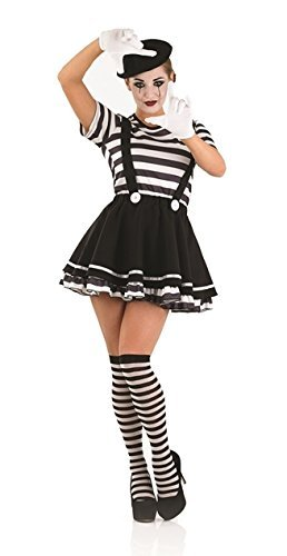 Pierrot Costume Uk (Pierrot Clown Mime Artiste Female Fancy Dress Costume - S (UK 8-10) by Parties Unwrapped)