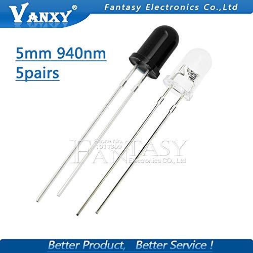 /Émetteur infrarouge 5pcs 5mm 940nm LEDs 5pcs et diodes de r/écepteur 5pcs IR