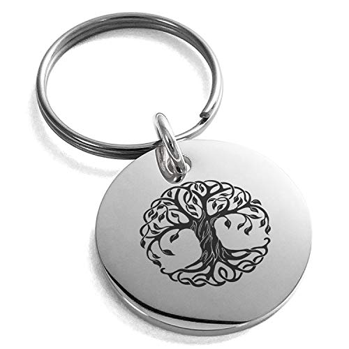 (Tioneer Stainless Steel Celtic Knot Tree of Life Symbol Engraved Small Medallion Circle Charm Keychain Keyring)