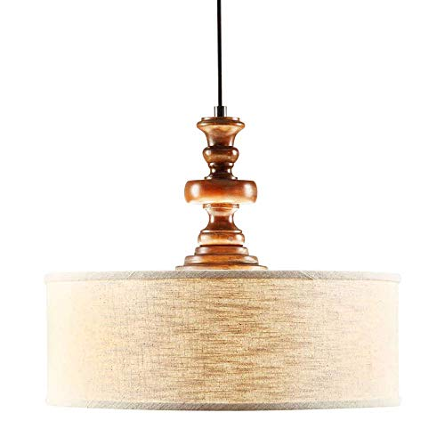 Modern Farmhouse Chandelier for Dining Rooms, Kitchens and Breakfast Nooks | Drum Light Fixture is Adjustable in Height | Made of Wood and Fabric This Rustic Pendant Lamp Provides Warm Ample Lighting Review