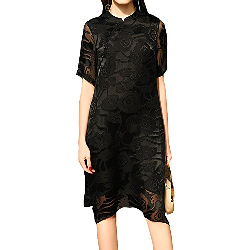 Gestreift Long Schwarz S9969 Seide Kleid Kleider Damen Übergröße Cocktail DISSA Knee Abendkleid qUA7nSS