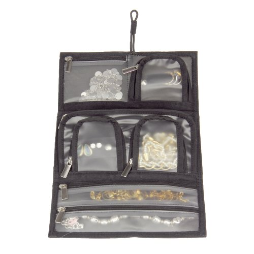 Household Essentials Tri-Fold Travel Jewelry Organizer, Black