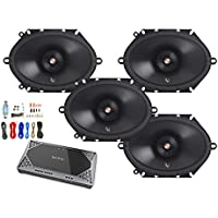 4x Infinity Primus 6x8 2-Way 165-Watt Multi-Element Car Audio Speakers, with Infinity Reference Series REF-704A 4-Channel Car Audio Amplifier, Enrock Amp Kit