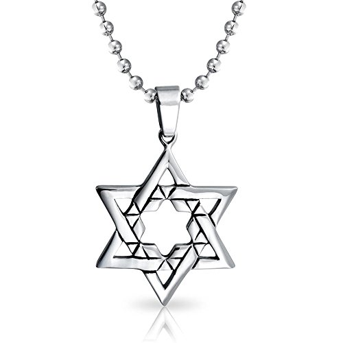 Bling Jewelry Large Jewish Star of David Hanukkah Religious Pendant for Men Stainless Steel Necklace 20 Inch Ball Chain
