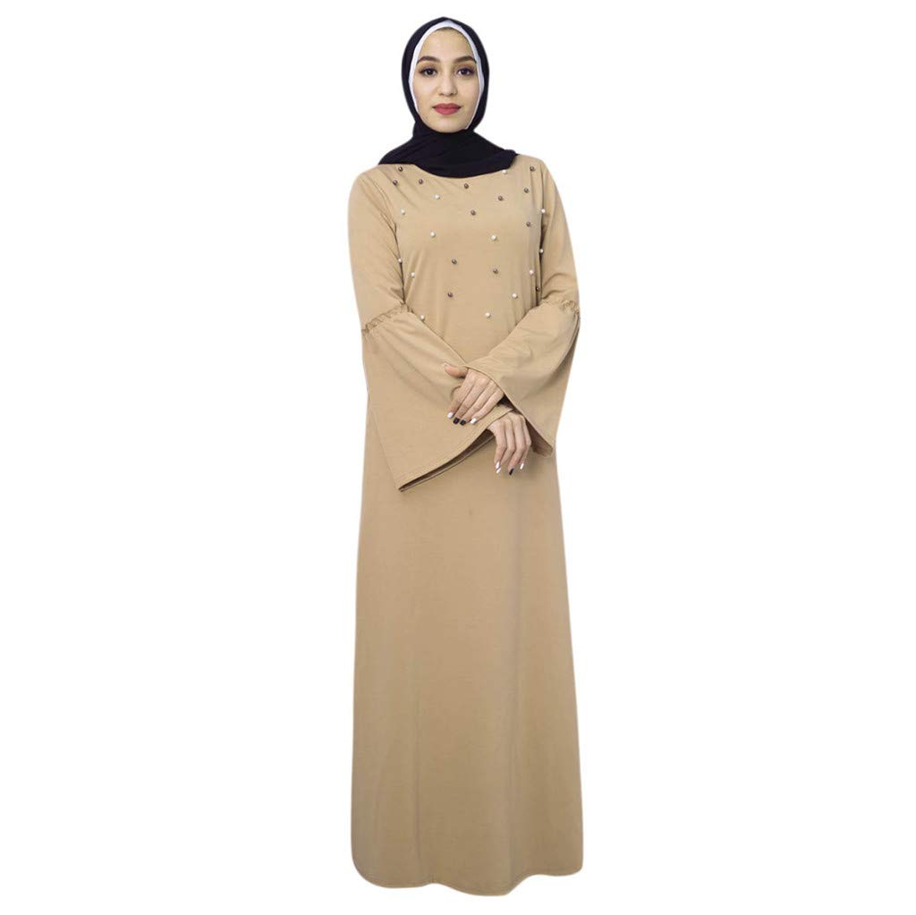 ZOMUSAR Muslim Clothes, Bell Sleeve Knit with Pearls Loose Jilbab Plain Abaya Muslim Islamic Dress Women Beige by ZOMUSAR