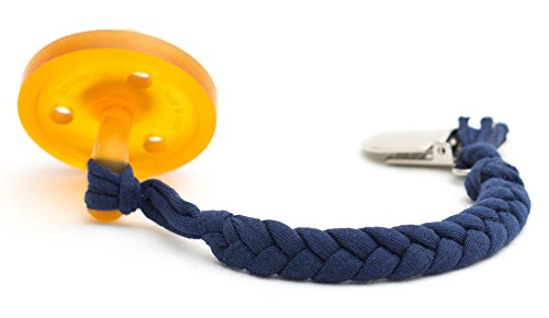 Madelines Box Original Softy Braided Pacifier Clip, Hand-Made in USA, Universal - Keep Any Pacifier, Teether, Or Toy Off The Dirty Ground, Perfect Length 8, Stylish and Sturdy (Softy Navy)