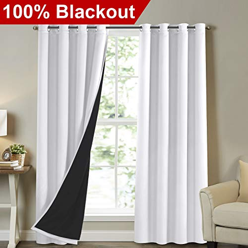 - Turquoize White Blackout Curtains Extra Long Lined Faux Silk Curtains with Blackout Black Liner Panels Drapes Thermal Insulated Window Treatment Grommet 2 Panels, 108 Inch Length