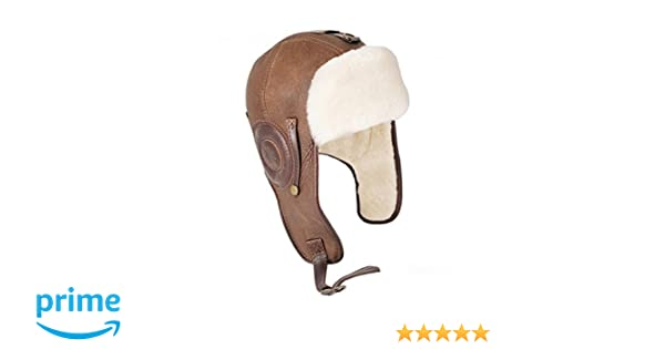 Amazon.com  Ricardo B.H. Men s Pilot Genuine Sheepskin Hat in Distressed  Brown - Medium  Clothing 48afc67d7ad0