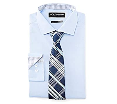 Nick Graham Men's Fitted Solid Dress Shirt With Plaid Tie Set