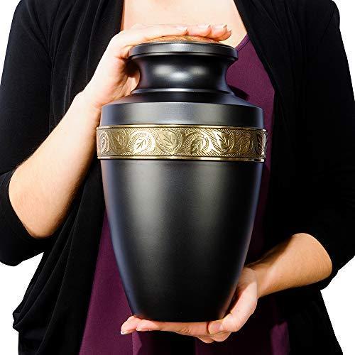 Serenity Black Beautiful Adult Cremation Urn for Human Ashes - w Velvet Bag