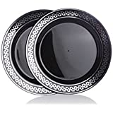 "Home Value 7.5"" Elegant Round Plastic Plates, Black and Silver, 120 Count"