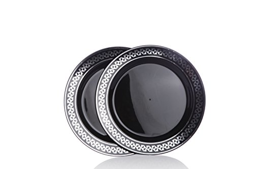 """Home Value 7.5"""" Elegant Round Plastic Plates, Black and Silver, 120 Count"""