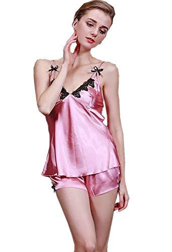 Pijama Verano En Con Suaves Elegante Mujeres Camisón Sin Mangas V Cómodo Moda Dormir Ropa Las Korallenrot Cuello Pijamas De Sling q8ABwvO