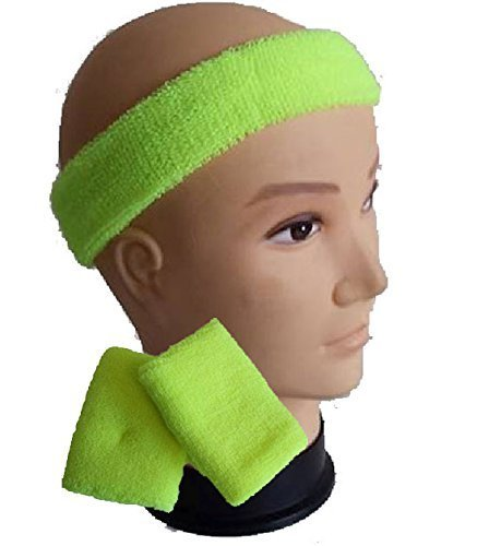 Childrens Kids Neon Headband Sweatband Wristbands 1980s 80s Fancy Dress Yellow By Blue Planet Online Amazoncouk Clothing