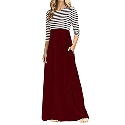 Pocket Women's Party wine Red Floral Maxi V Pattern Long Striped Print Neck Dress Dresses rRtqR
