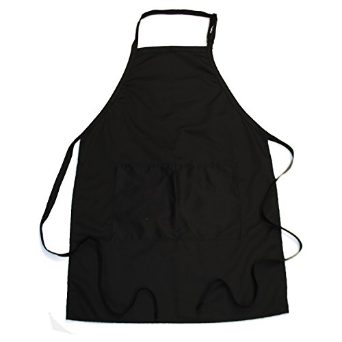 50s Teacher Costume (Bib Bib Apron 2-Pocket Oversized with Extra Long Ties (2, Black))