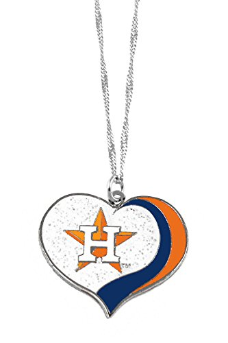 aminco Houston Astros MLB Sports Team Logo Charm Gift Glitter Heart Necklace