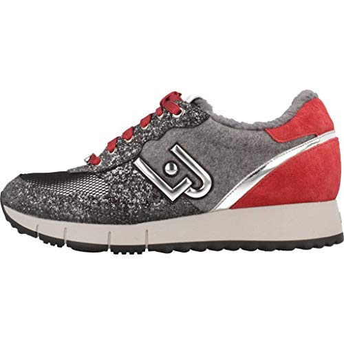 Gris JO Red Net Suede Sneakers Zapatos Running Fur LIU Grey Rojo Glitter Cow Gigi Mujeres qW1Zc1PpO